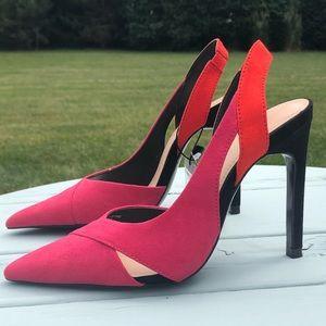 NEW Zara fuchsia orange black pointy toe heels